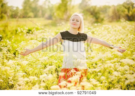Young  Business Woman Having Fun Outside After Hard Day In Office