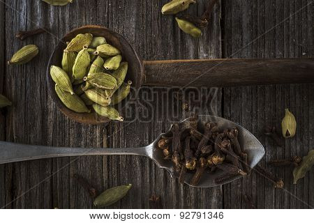 two spoons full of spices