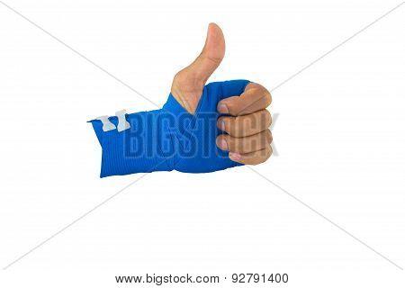 Hand Tied Blue Elastic Bandage