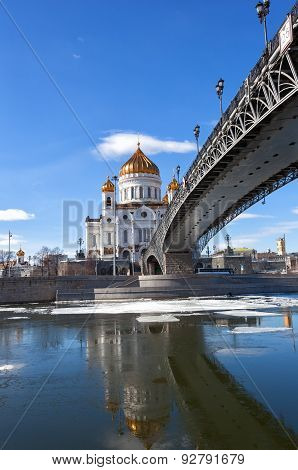 Cathedral Of Christ The Saviour And Patriarshy Bridge In Moscow In The Winter