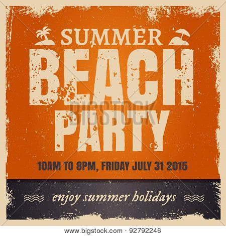 Summer beach party in retro hot style with orange background