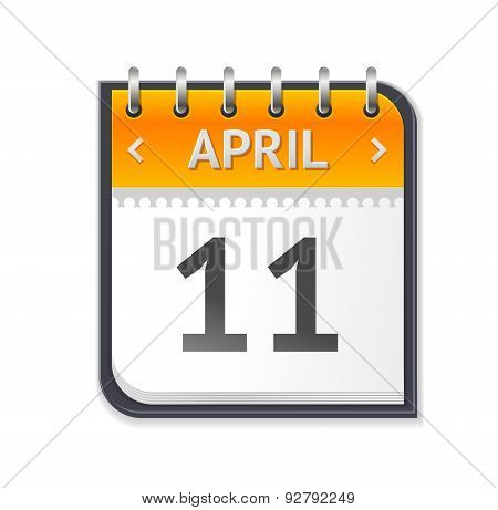 Vector Calendar April Eleven Flat Design