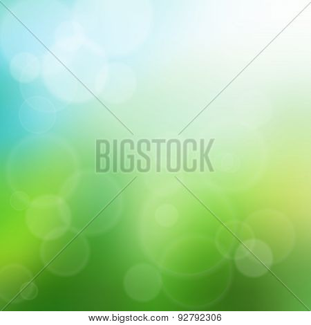 Summer green bokeh background illustration