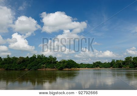 Indonesia - Tropical Landscape On The River, Borneo