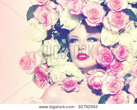 High fashion Vogue styled portrait of beauty sexy model girl with roses hairstyle. Art glamour Woman with bright holiday make-up. Makeup