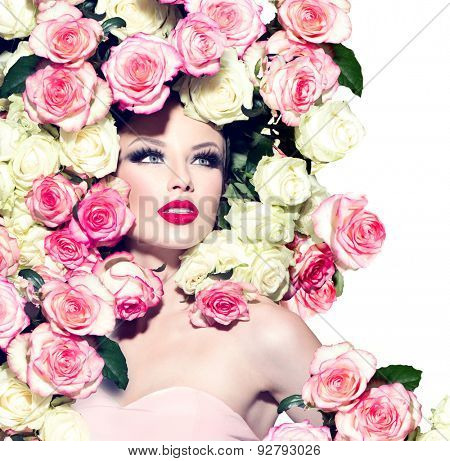 High fashion Vogue styled portrait of beauty sexy model girl with pink and white roses hairstyle. Art glamour Woman with bright holiday make-up. Makeup. Isolated on a white background. Perfect skin