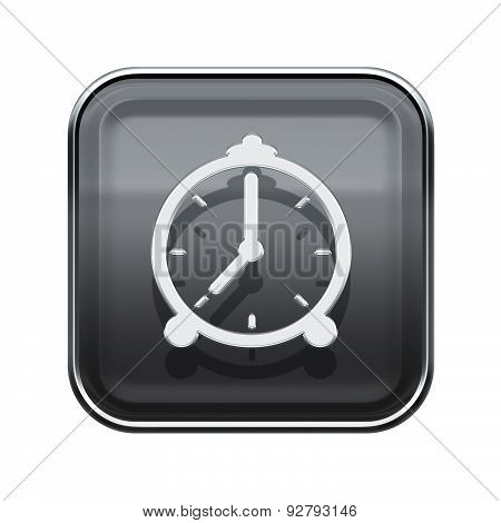 Alarm Clock Icon Glossy Grey, Isolated On White Background