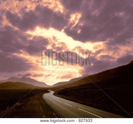 Road Through Mountains Sunset Sky