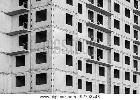 Facade Made Of Concrete Under Construction