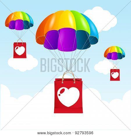 Vector  rainbow parachute love concept