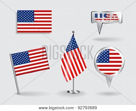 Set of American pin, icon and map pointer flags. Vector