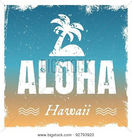 Vector aloha with hot beach colors, retro background.