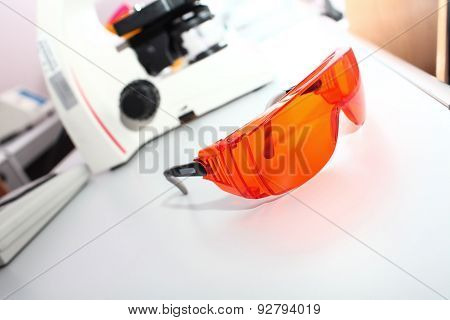 Safety Glasses In A Scientific Laboratory Concept