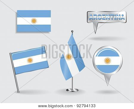 Set of Argentinean pin, icon and map pointer flags. Vector