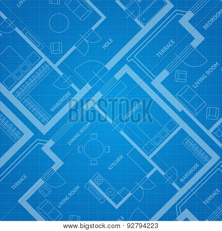 Vector plan blue print. Architectural background