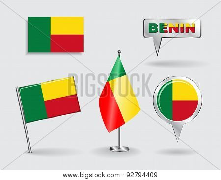 Set of Benin pin, icon and map pointer flags. Vector