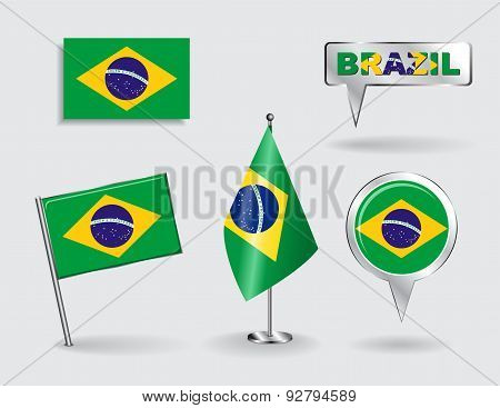Set of Brazilian pin, icon and map pointer flags. Vector