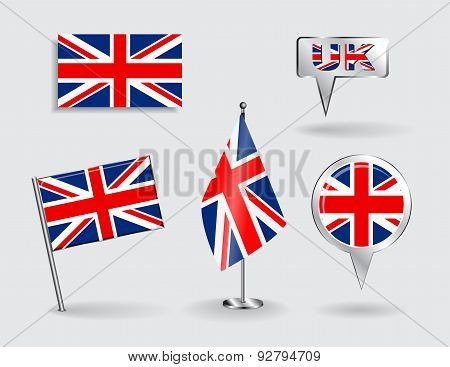 Set of British pin, icon and map pointer flags. Vector