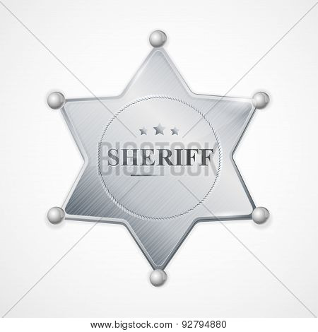 Vector silver sheriff badge star