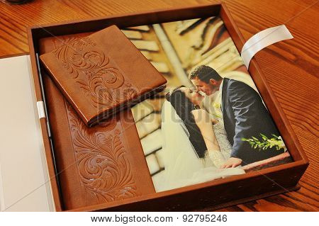 Brown Leather Wedding Photo Book Album
