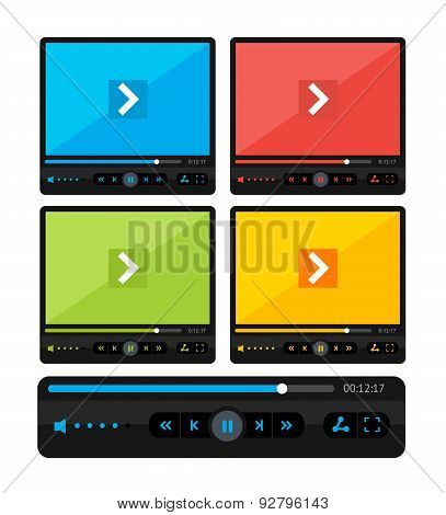 Vector colorful video player skin set