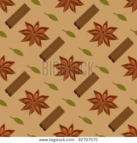 Spices seamless pattern. Star anise, cardamon, cinnamon sticks