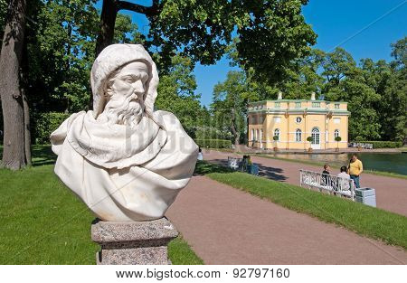 Tsarskoye Selo (Pushkin), Saint-Petersburg, Russia. The sculpture in the Catherine Park
