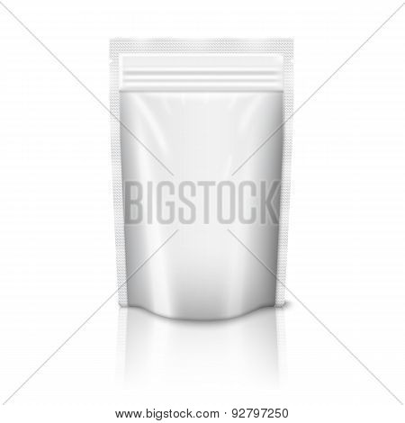 Blank realistic plastic zipped pouch isolated on white background with reflection . Vector