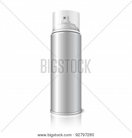 Blank vector realistic aerosol spray metal 3D bottle can, transparent cap isolated on white backgrou