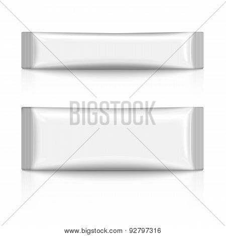Blank plastic stick pack for coffee, sugar, salt, spices, isolated on white background with reflecti