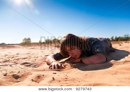 Girl Playing With Sand 2