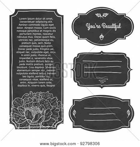 Chalkboard Ads, including banners, frames, labels, swirls. Doodle style. Place for your text. Vector