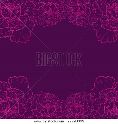 Hand drawn peony flowers on dark background