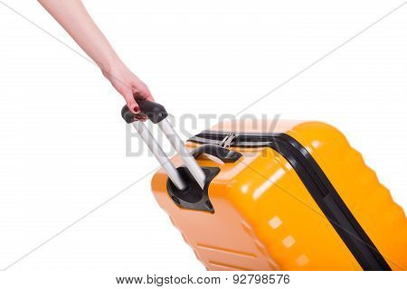 Travel case and hand isolated on white close up