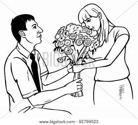 Man Gives Girl Flowers On Knee