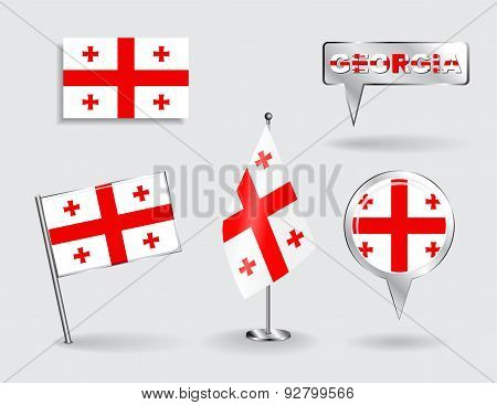 Set of Georgian pin, icon and map pointer flags. Vector