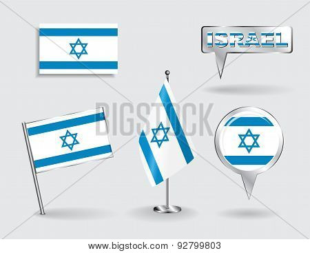 Set of Israeli pin, icon and map pointer flags. Vector