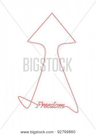Inscription freedom on a white background. 3d
