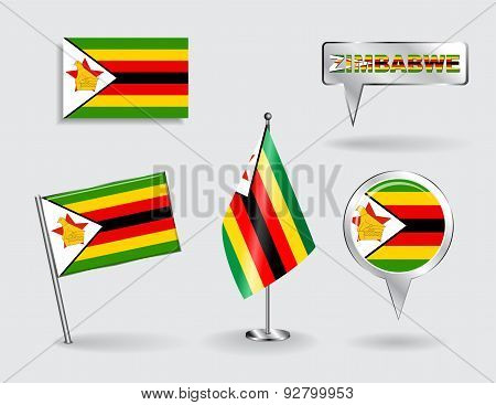 Set of Zimbabwean pin, icon and map pointer flags. Vector
