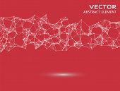 image of cybernetics  - Element of abstract cybernetic particles on red background - JPG