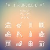 picture of garage  - Construction thin line icon set for web and mobile - JPG