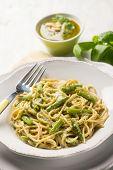 foto of pesto sauce  - spaghetti with green beans and pesto sauce - JPG