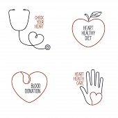 picture of cardiology  - Set of linear medical icons and emblems for heart health cardiology and blood donation - JPG