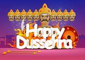 stock photo of ravan  - vector illustration of Happy Dussehra wallpaper background - JPG