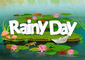 picture of rainy day  - vector illustration of Rainy Day wallpaper background - JPG