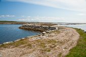 stock photo of dam  - Dam between the Islands of the Solovetsky archipelago Russia - JPG