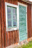picture of windows doors  - Old Green Door and Window on an Old Swedish Cabin - JPG