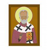 stock photo of nicholas  - Saint Nicholas religion icon on brown background - JPG