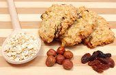 picture of baked raisin cookies  - Oatmeal cookies and ingredients  - JPG