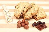 stock photo of baked raisin cookies  - Oatmeal cookies and ingredients  - JPG
